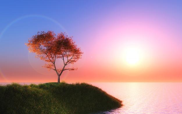 Albero di acero 3d contro un cielo al tramonto