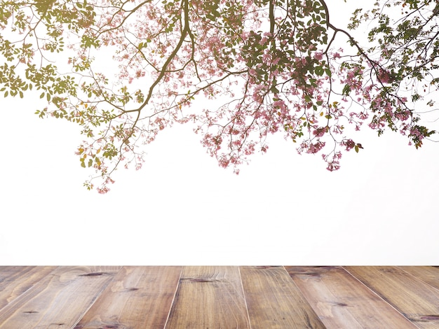 Albero di fiori rosa tromba su bianco