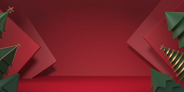 Albero di natale della rappresentazione 3d con fondo rosso