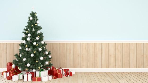 Albero di natale e confezione regalo in salotto