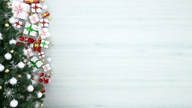 Albero di natale e scatole regalo