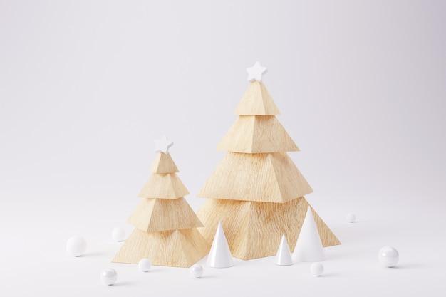Albero di natale in legno con geometrica su sfondo bianco.