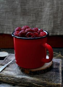 Albero rosso della tazza del lampone della bacca rustico