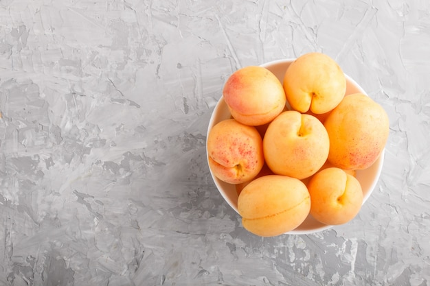 Albicocche arancioni fresche in ciotola bianca. vista dall'alto.