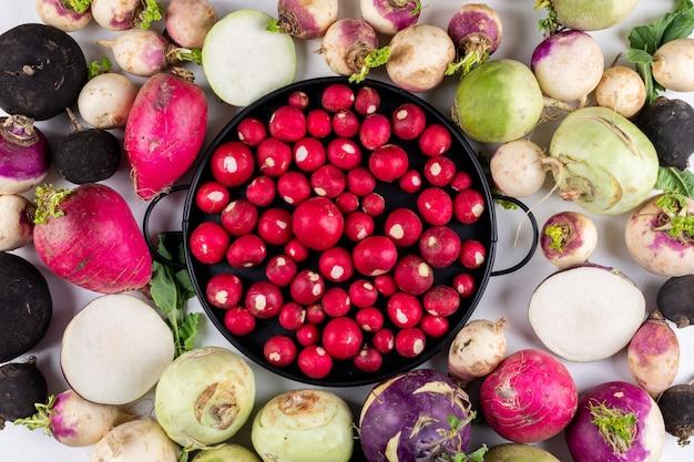 Alcuni dei ravanelli rossi in una pentola nera sui ravanelli rossi bianchi del giardino