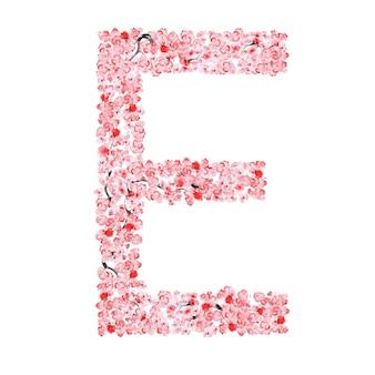 Alfabeto di fiori di sakura. lettera e