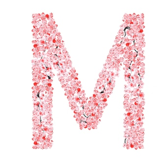 Alfabeto di fiori di sakura. lettera m
