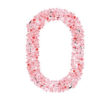 Alfabeto di fiori di sakura. lettera o