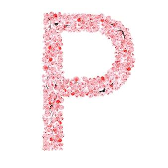 Alfabeto di fiori di sakura. lettera p