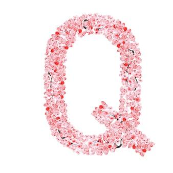Alfabeto di fiori di sakura. lettera q