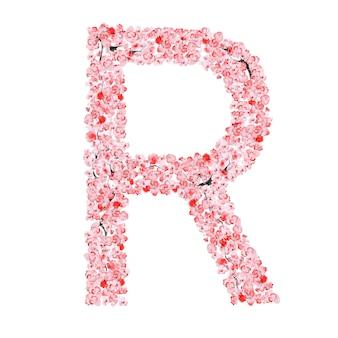 Alfabeto di fiori di sakura. lettera r