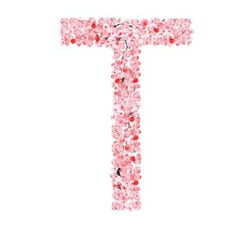 Alfabeto di fiori di sakura. lettera t