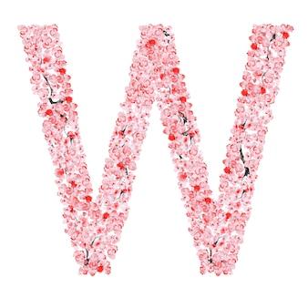 Alfabeto di fiori di sakura. lettera w