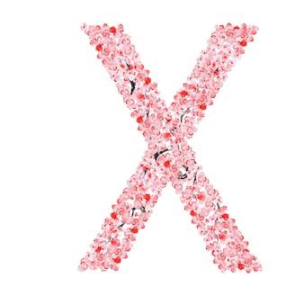 Alfabeto di fiori di sakura. lettera x