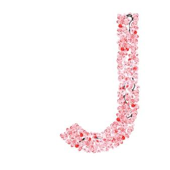 Alfabeto di fiori di sakura. letterj