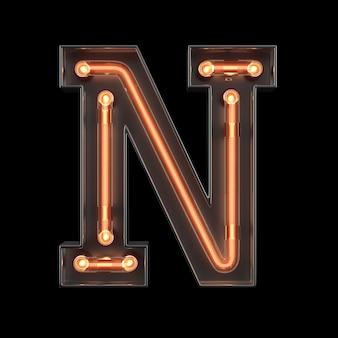 Alfabeto di luce al neon n
