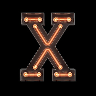Alfabeto di luce al neon x
