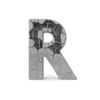 Alfabeto in calcestruzzo rotto r