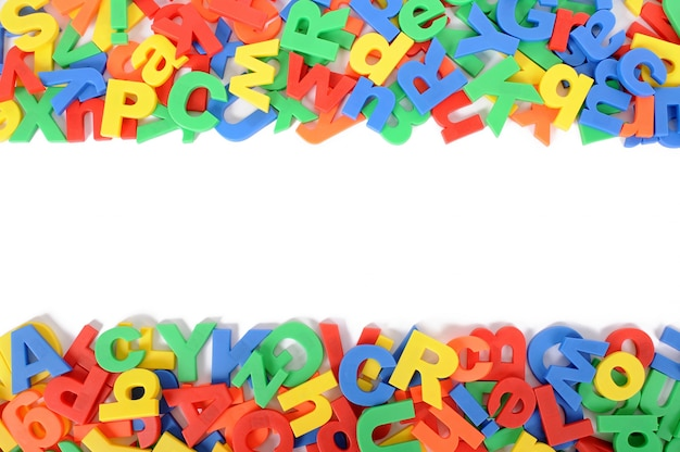 Alfabeto lettere su sfondo bianco