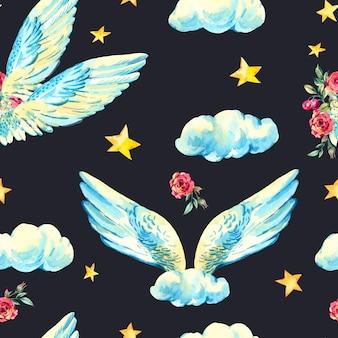 Ali d'angelo dell'acquerello dell'annata
