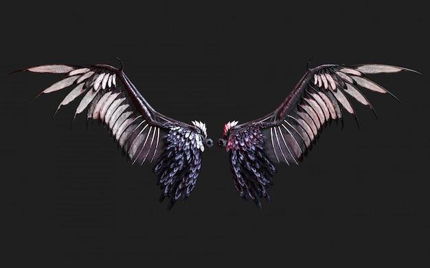 Ali del demone dell'illustrazione 3d, piumaggio nero dell'ala isolato sul nero con il percorso di ritaglio.