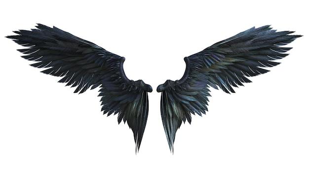 Ali del demone dell'illustrazione 3d, piume nere dell'ala isolate su fondo bianco