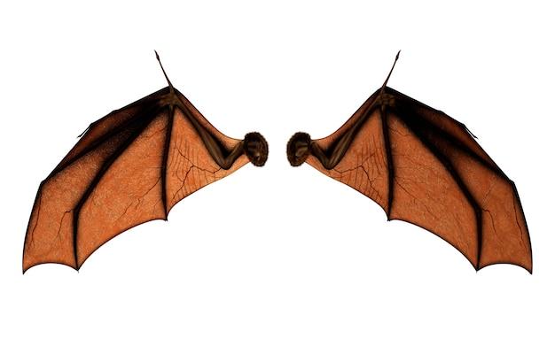 Ali del diavolo dell'illustrazione 3d, piume dell'ala del demone isolate su fondo bianco