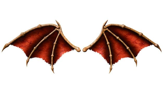 Ali del diavolo, piume dell'ala del demone isolate su fondo bianco