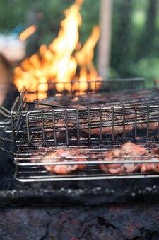 Ali di pollo marinate con succo in grigliate