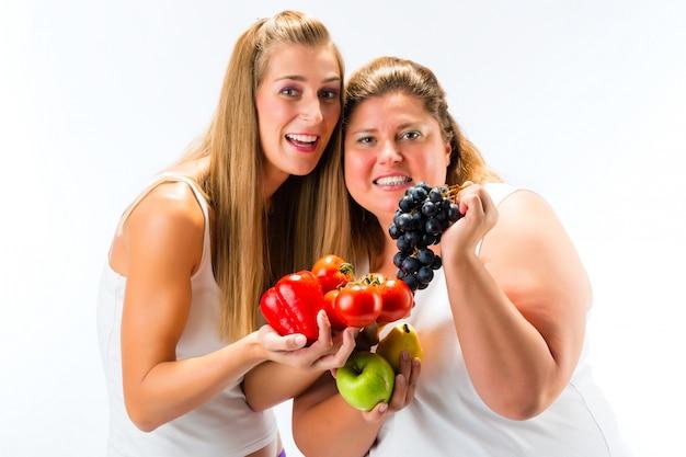 Alimentazione sana, donne, frutta e verdura