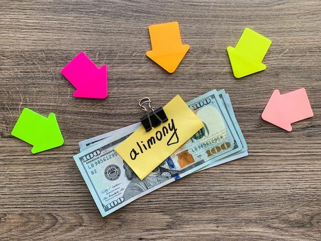 Alimenti per pagamenti. mucchio di dollari con segno alimenti e soldi. divorzio e separazione