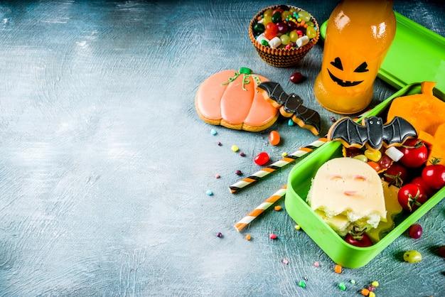 Alimento di halloween, scatola di pranzo di scuola