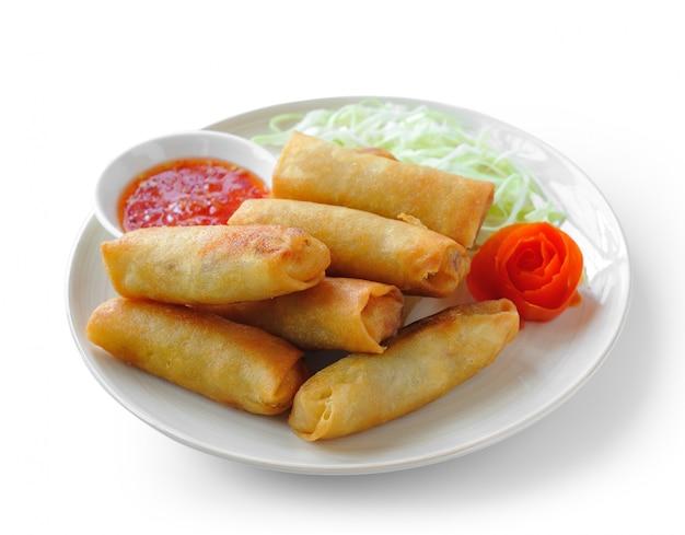 Alimento fritto cinese tradizionale degli involtini primavera su bianco