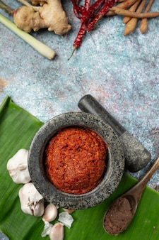 Alimento tailandese delle spezie e del curry del peperoncino rosso