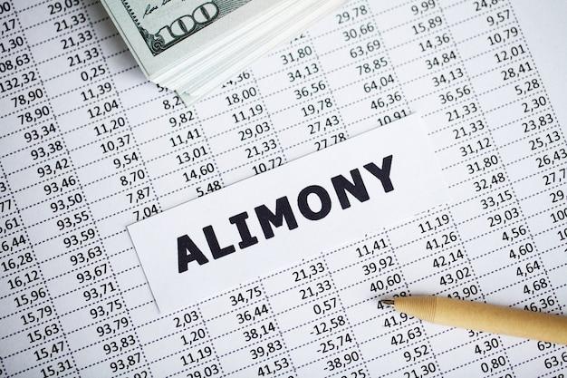 Alimony scritto su carta bianca