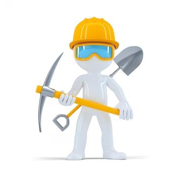 Allegro operaio edile di costruzione che propone con gli attrezzi