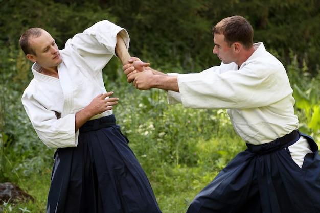 Allenamento di arti marziali aikido