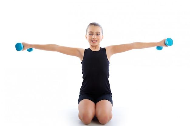 Allenamento di esercizio fitness ragazza ragazzo manubri fitness