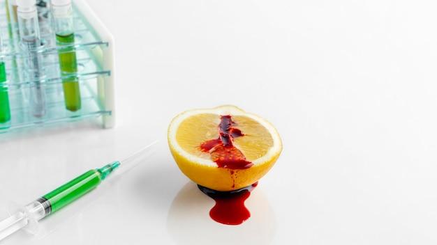 Alta vista metà del limone iniettato con sostanze chimiche coloranti