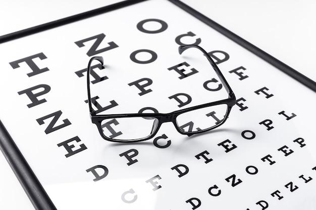 Alto angolo di occhiali sulle lettere