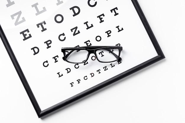 Alto angolo di paio di occhiali sul pannello con lettere