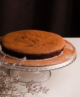 Alto angolo di torta con cacao in polvere in cima