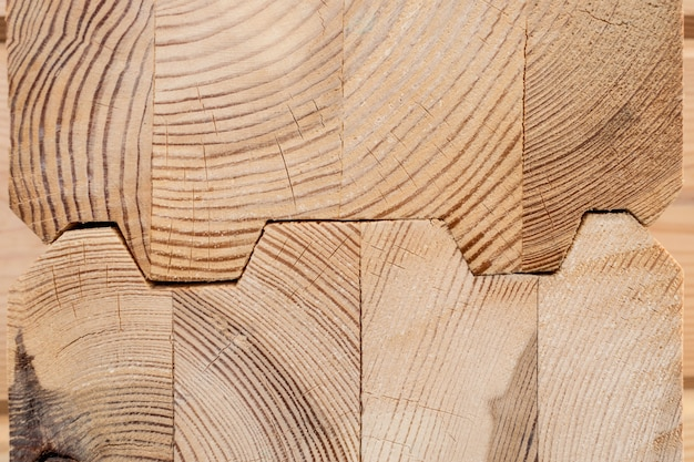 Alto vicino del legname incollato legno