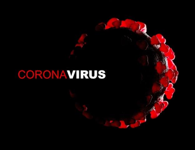 Alto vicino del virus del microscopio. rendering 3d. coronavirus 2019-ncov nuovo concetto di coronavirus responsabile dell'epidemia di influenza asiatica, influenza dei coronavirus come casi di ceppo pericoloso come la pandemia.