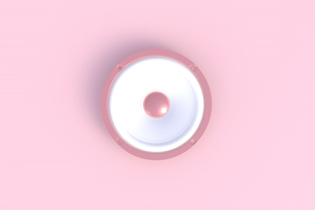 Altoparlante sano isolato su un fondo rosa, rappresentazione 3d