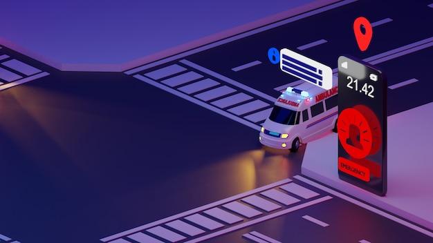 Ambulanza di emergenza su smartphone