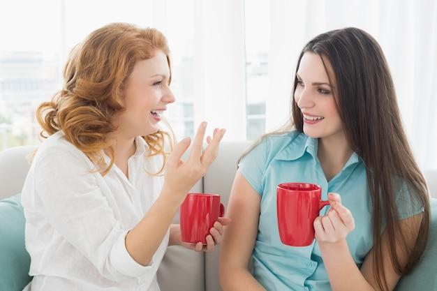 Amici con tazze di caffè conversando a casa