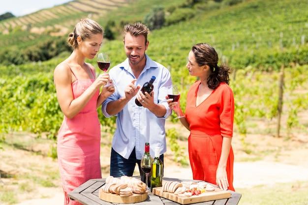 Amici felici che bevono vino