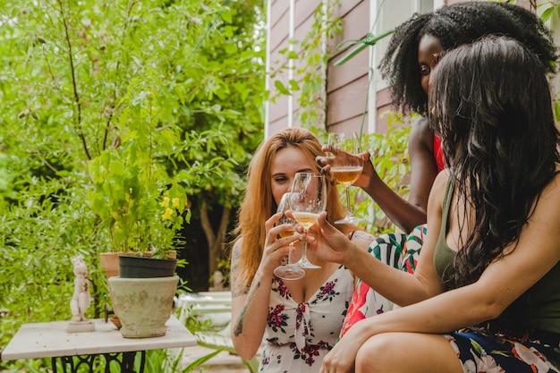 Amici femminili che tostano con il vino