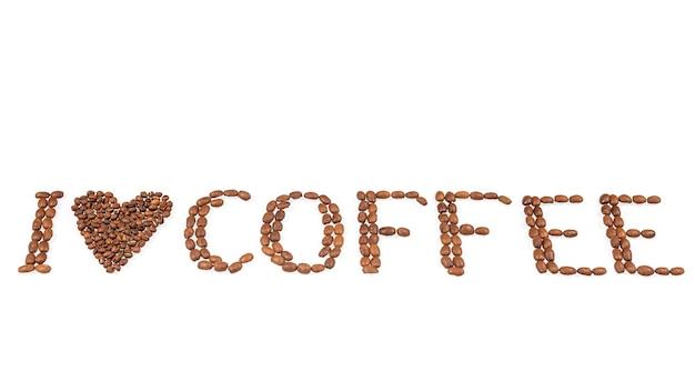 Amo il segno del caffè dai chicchi di caffè tostati isolati su bianco